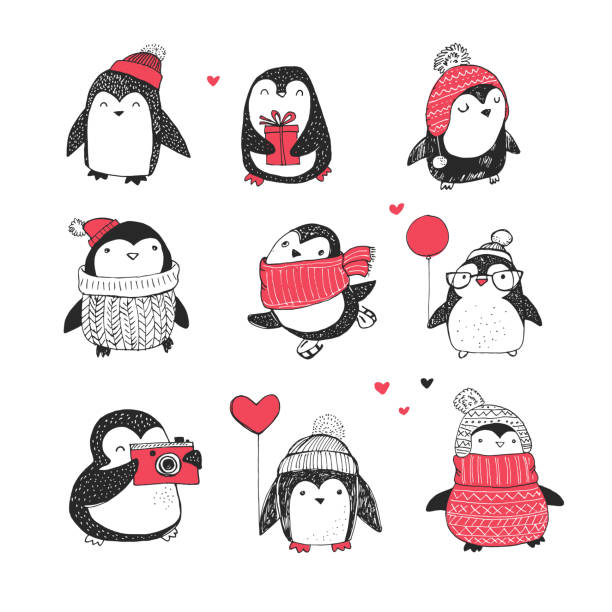 süße hand drawn penguins set-merry christmas grüße - pinguin stock-grafiken, -clipart, -cartoons und -symbole