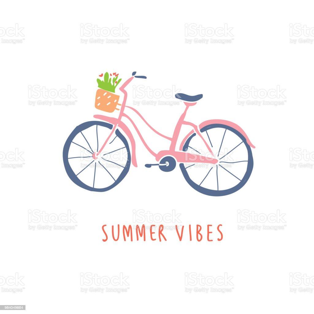 花のかわいい手描きピンク自転車 イラストレーションのベクターアート