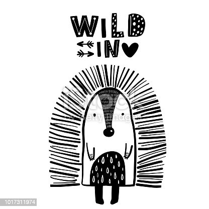 Cute hand drawn porcupine in black and white style. Cartoon vector illustration in scandinavian style