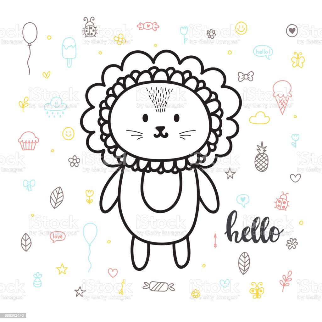 cute hand drawn postcard with funny lion card for little girl or boy template
