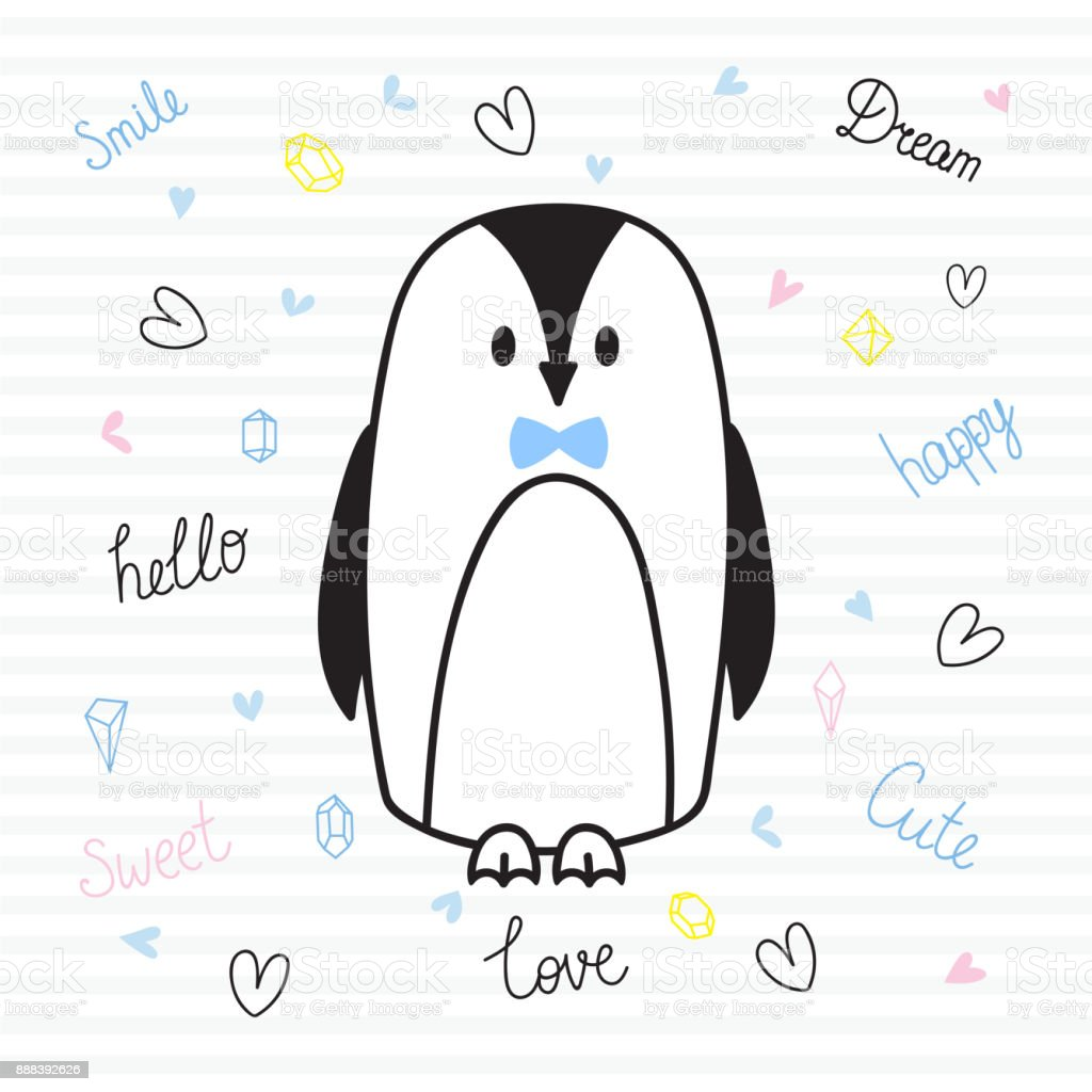 cute hand drawn postcard with funny penguin card for little girl or boy template