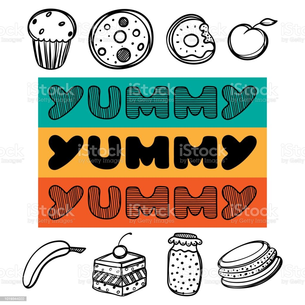 Cute hand drawn poster menu for cafe with dessert food and yummy quote. Linear illustration. vector art illustration