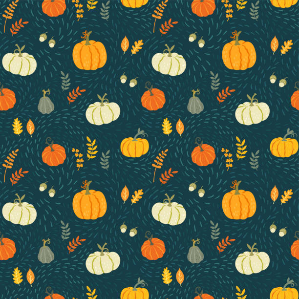 Cute hand drawn pumpkin seamless pattern, hand drawn pumpkins - great as Thanksgiving background, textiles, banners, wallpapers, wrapping - vector design Cute hand drawn pumpkin seamless pattern, hand drawn pumpkins - great as Thanksgiving background, textiles, banners, wallpapers, wrapping - vector design pumpkin stock illustrations