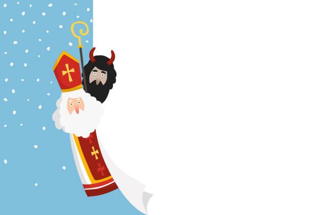 illustrations, cliparts, dessins animés et icônes de mignon à la main dessiné saint nicolas avec le diable et la feuille de papier blanc, carte de voeux. fond d'hiver, bannière de web avec la neige tombante et espace de copie. conception plate, illustration de vecteur. tradition européenne. - saint nicolas