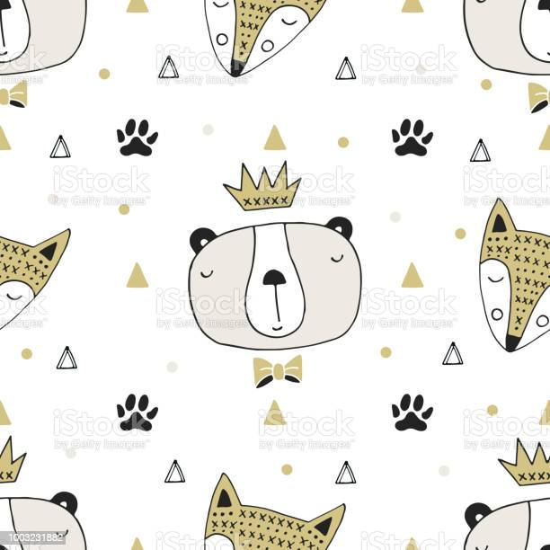 Cute hand drawn seamless pattern with animal character in style vector id1003231882?b=1&k=6&m=1003231882&s=612x612&h= uxkvzzmruoh5pp0va2cnl4zitjuaqiqbpcgm4qbkwo=