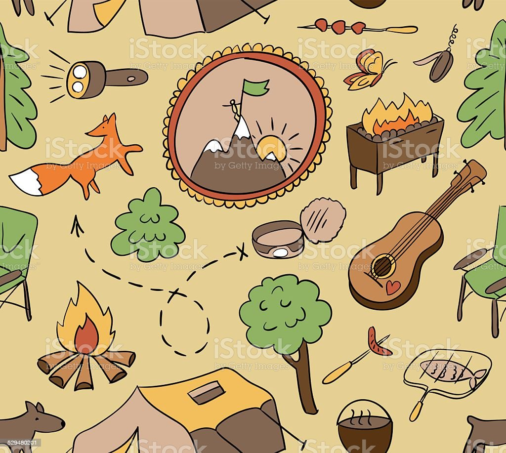 Cute Hand Drawn Seamless Pattern With Camping Gear Vector Royalty Free Stock