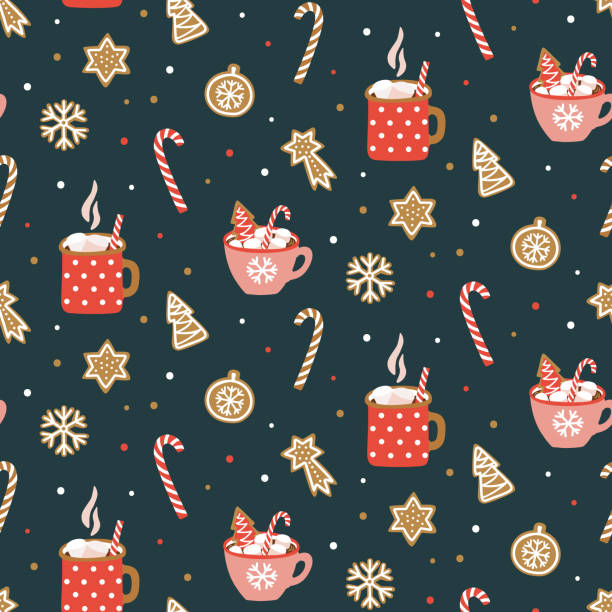 ilustrações de stock, clip art, desenhos animados e ícones de cute hand drawn seamless pattern with cocoa, marshmallow and christmas cookies. vector design template for wrapping paper, fabric, wallpaper , etc. - christmas cookies