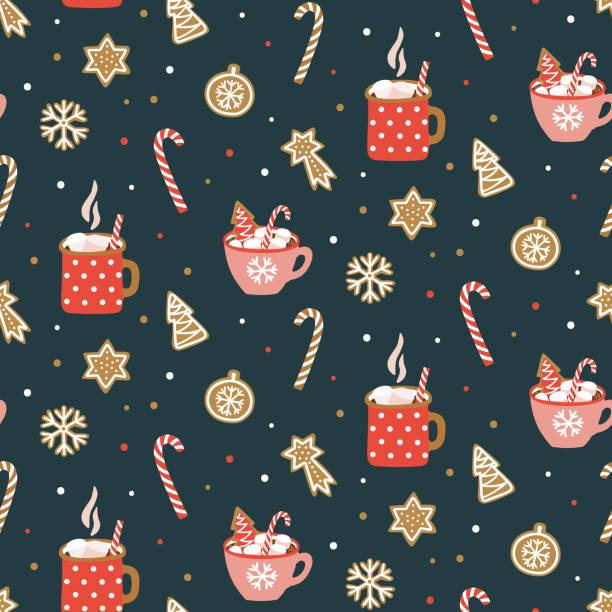 bildbanksillustrationer, clip art samt tecknat material och ikoner med söt hand dragna sömlösa mönster med kakao, marshmallow och jul cookies. vector formgivningsmall för förpackning av papper, tyg, tapet, etc. - pepparkaka