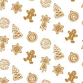 Cute Hand drawn seamless pattern with cookie. Gingerbread on white background repeating wallpaper. Vector design for Christmas season.