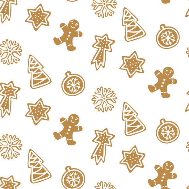 stockillustraties, clipart, cartoons en iconen met schattig hand getekende naadloze patroon met cookie. ontbijtkoek op witte achtergrond behang te herhalen. vector ontwerp voor kerstseizoen. - speculaas