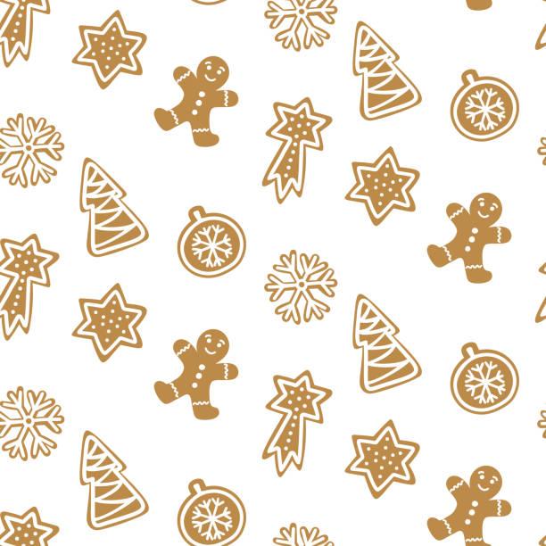 bildbanksillustrationer, clip art samt tecknat material och ikoner med söt hand dragna sömlösa mönster med cookie. pepparkakor på vit bakgrund upprepande tapet. vektor design för julen. - pepparkaka