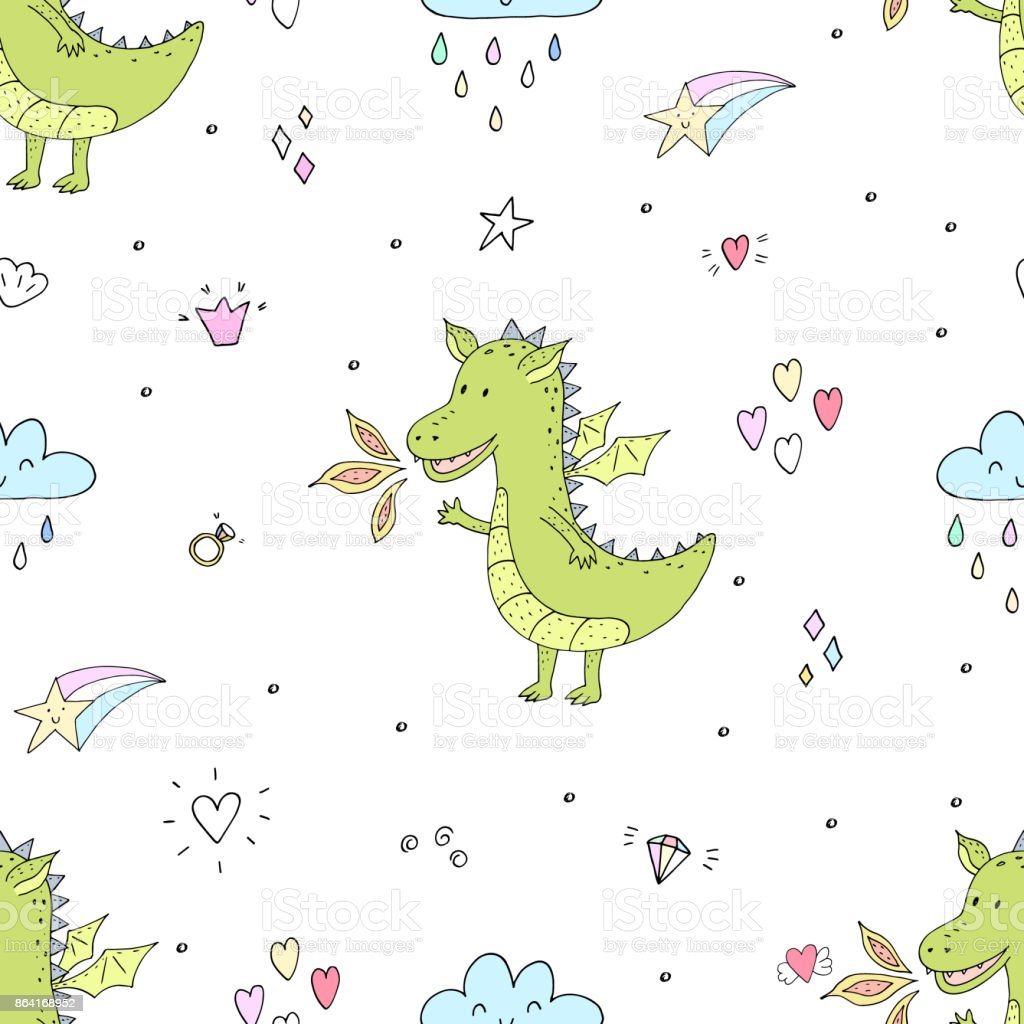Cute hand drawn seamless pattern with funny dragons royalty-free cute hand drawn seamless pattern with funny dragons stock vector art & more images of abstract