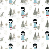 Cute hand drawn seamless pattern with little girl and monster in the forest in scandinavian style. Vector illustration.