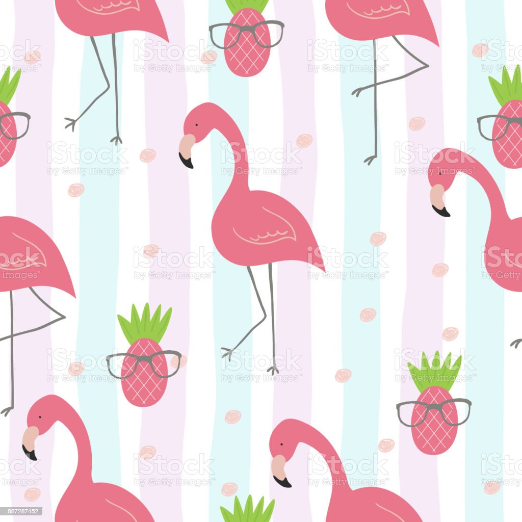 Cute hand drawn seamless pattern with pink flamingo. Vector print vector art illustration