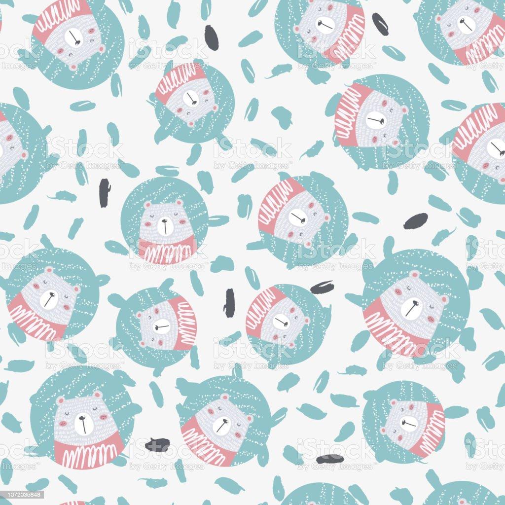 foto de Cute Hand Drawn Seamless Pattern With Polar Bear Christmas Design ...