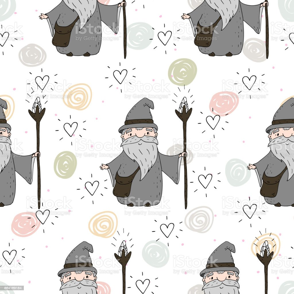Cute hand drawn seamless pattern with Wizard. vector print royalty-free cute hand drawn seamless pattern with wizard vector print stock vector art & more images of ball