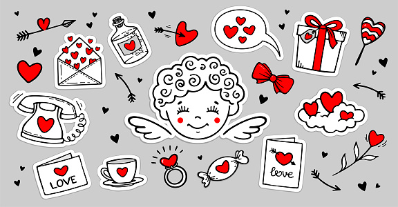 Cute hand drawn set of Love doodles  stickers with cupid, hearts etc.