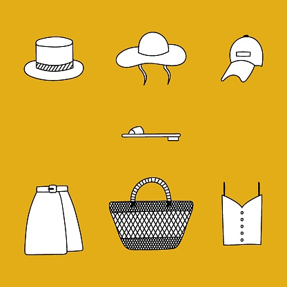 Cute hand drawn set of summer clothes