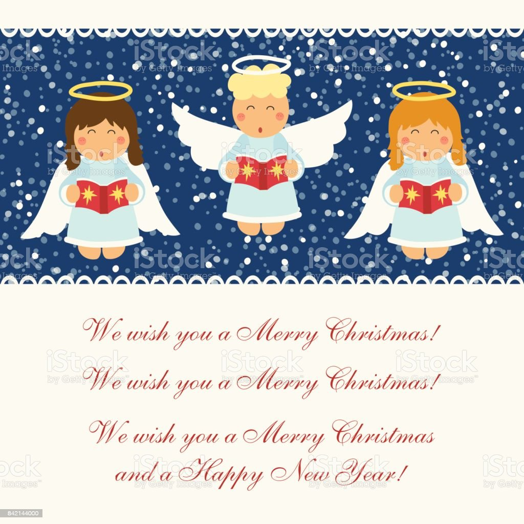 Christmas Angel.Cute Hand Drawn Singing Christmas Angel Characters Stock Illustration Download Image Now
