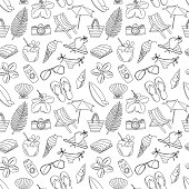 Cute hand drawn sketch line icons seamless pattern.