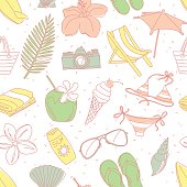 Cute hand drawn sketch line icons seamless pattern