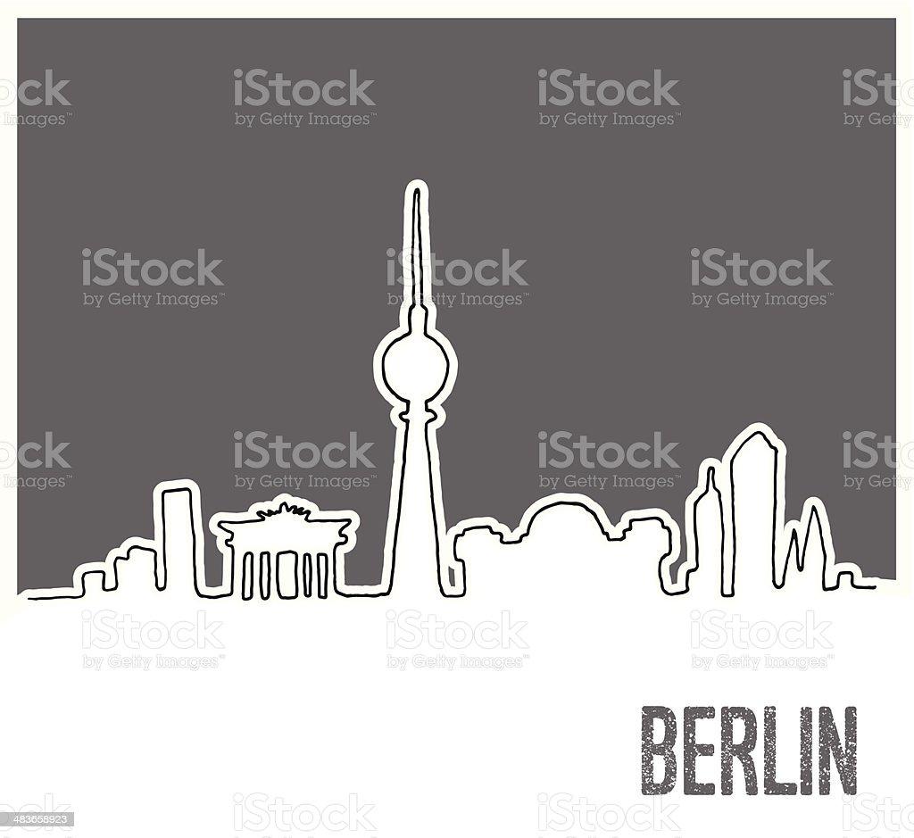 Süße Hand drawn Skyline von Berlin City, Doodle-Stil – Vektorgrafik