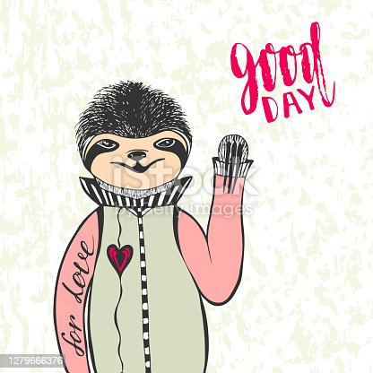 Cute hand drawn sloth with handwriting lettering Good day. Creative vector illustration for t-shirt print. Valentines day card