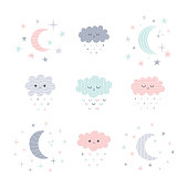 Cute hand drawn smiling clouds and moon with stars. Funny weather theme. Vector illustration