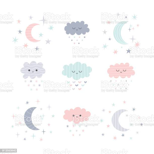 Cute hand drawn smiling clouds and moon with stars funny weather vector id913563640?b=1&k=6&m=913563640&s=612x612&h=etotk0x3i1zs pycpsiypuolrf3zmh  9scp pffsw0=