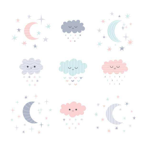ilustrações de stock, clip art, desenhos animados e ícones de cute hand drawn smiling clouds and moon with stars. funny weather theme - baby