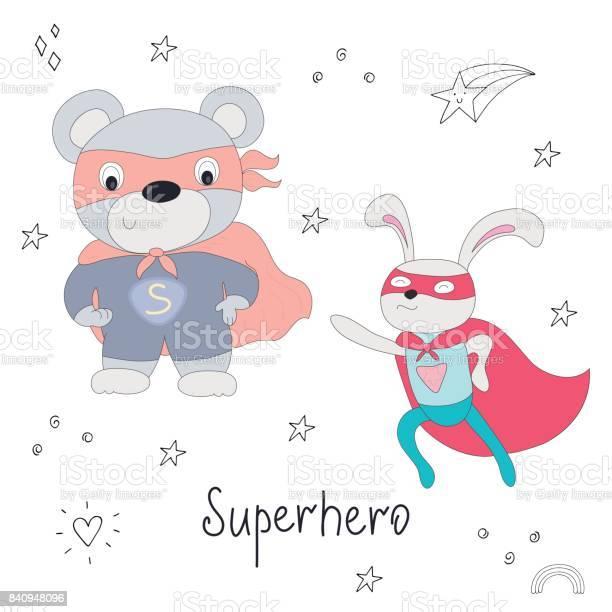 Cute hand drawn superhero teddy bear and rabbit animal vector vector id840948096?b=1&k=6&m=840948096&s=612x612&h=mqdua1oadwwhjb7gr0z5ve1dlmtt1k8p20qge24oq60=