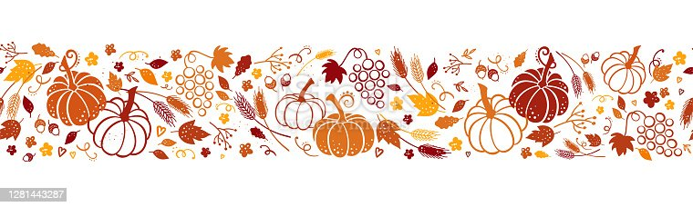 istock Cute hand drawn Thanksgiving seamless patten with leaves, pumpkins and decoration. Great for autumn themes, textiles, banners, wallpapers - vector design 1281443287