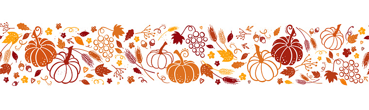 Cute hand drawn Thanksgiving seamless patten with leaves, pumpkins and decoration. Great for autumn themes, textiles, banners, wallpapers - vector design