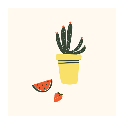 Cute hand drawn tiny potted cactus flower with watermelon and strawberry. Cozy hygge scandinavian style template for postcard, poster, greeting card, kids t shirt design. Vector illustration in flat cartoon style