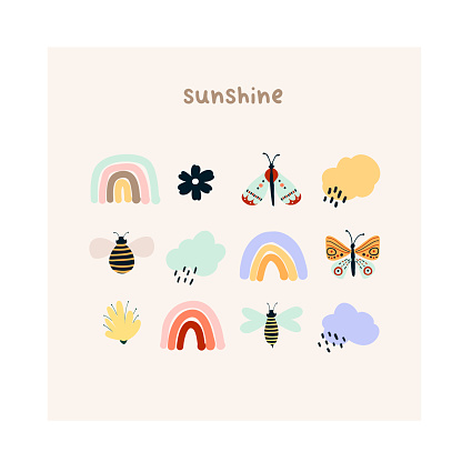 Cute hand drawn tiny rainbows, flowers, butterflies, rain clouds and bees. Cozy hygge scandinavian style template for postcard, greeting card, t shirt design. Vector illustration in flat cartoon style