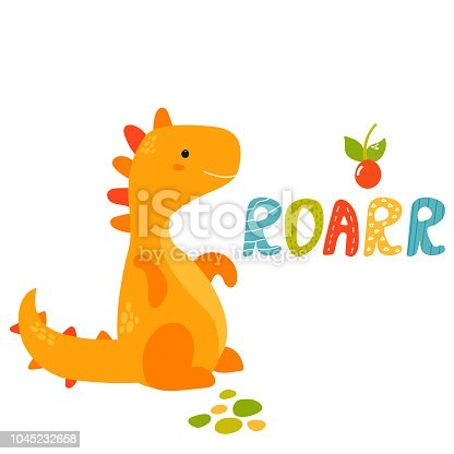 Cute hand drawn trex dino. Roarr greeting card. Suitable also for prints.