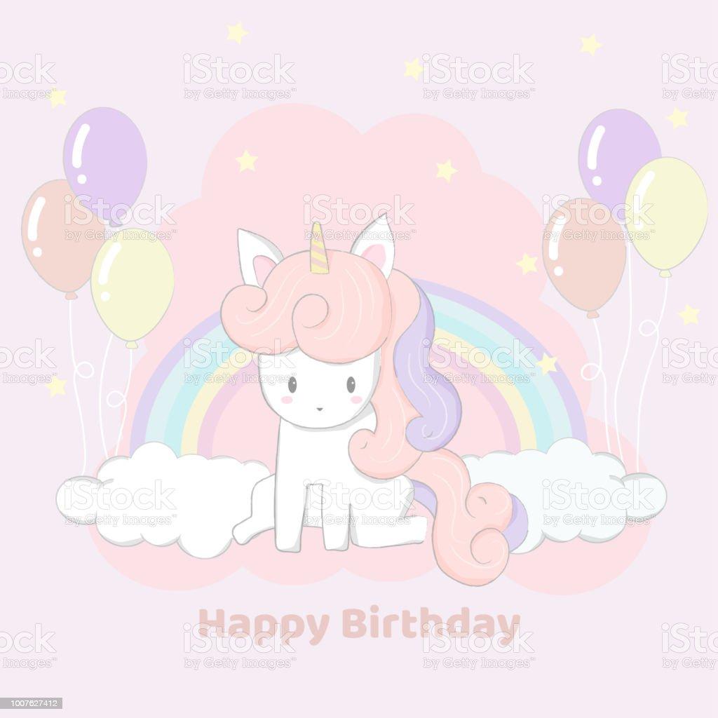 Cute Hand Drawn Unicorn Party Happy Birthday Card Royalty Free
