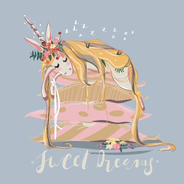 ilustrações de stock, clip art, desenhos animados e ícones de cute, hand drawn unicorn sleeping (dreaming) on big stack of pillows - unicorn bed