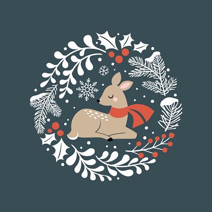 Cute hand drawn vector deer in wreath.