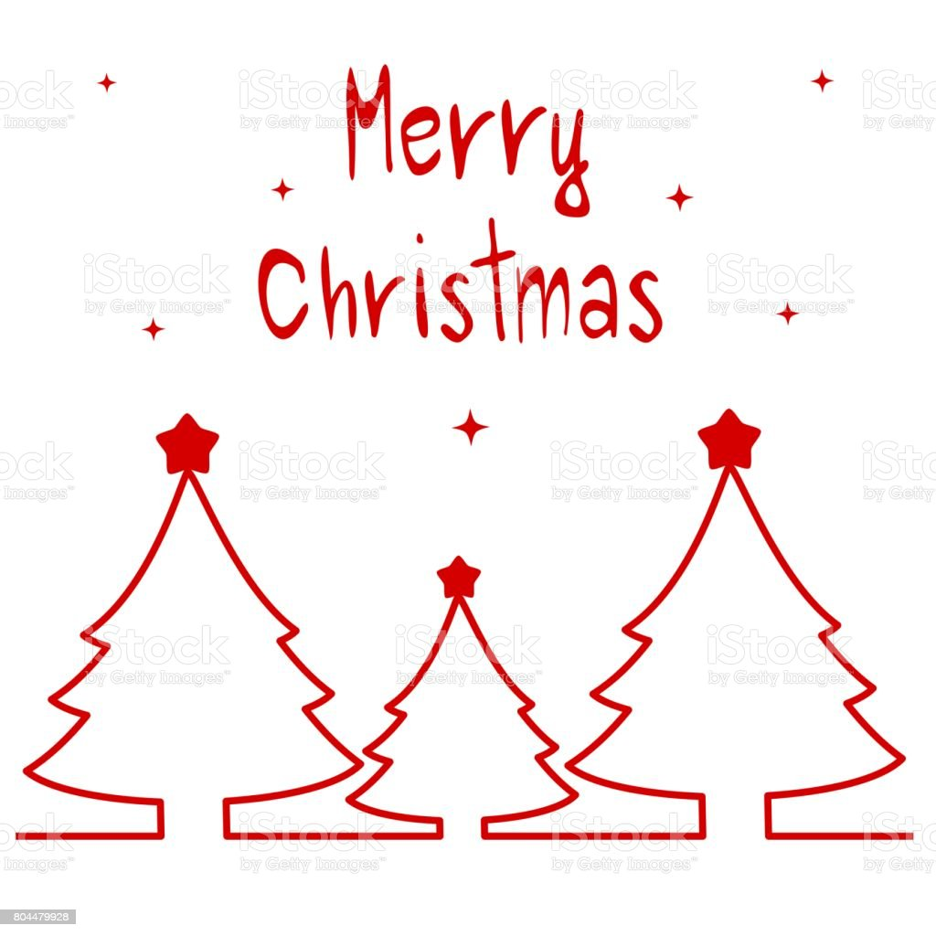 cute hand drawn vector merry christmas greeting card vector art illustration