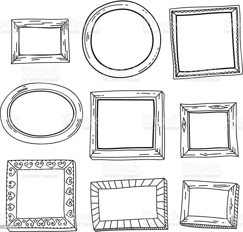 Cute hand drawn vector vintage frames vector art illustration