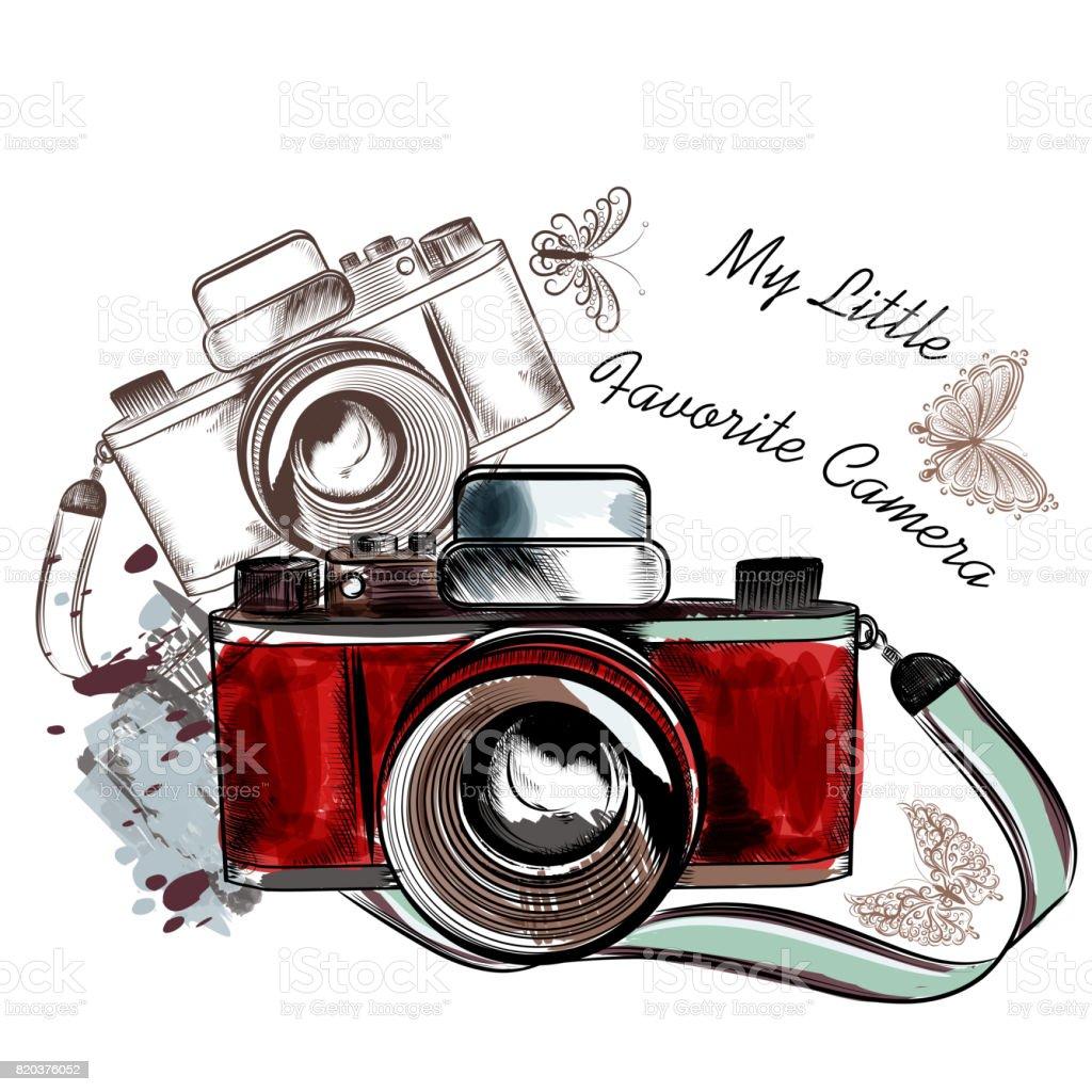 Vintage Fotograf Makinesi Vektor Cizim Sirin El Cekilmis Stok