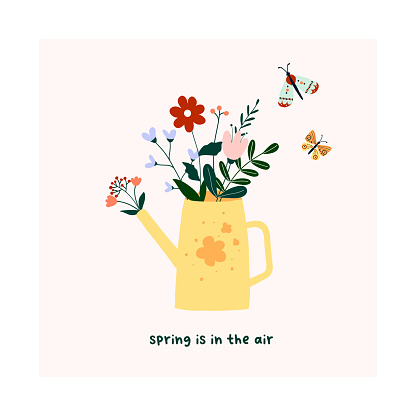Cute hand drawn watering can with spring blooming flowers, green leaves and butterflies. Cozy hygge scandinavian template for postcard, card, t shirt design. Vector illustration in flat cartoon style