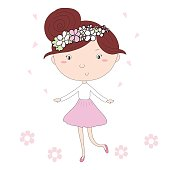 Cute hand drawn with cute little girl vector illustration