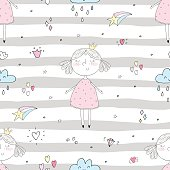 Cute hand drawn with cute little girl vector seamless pattern illustration