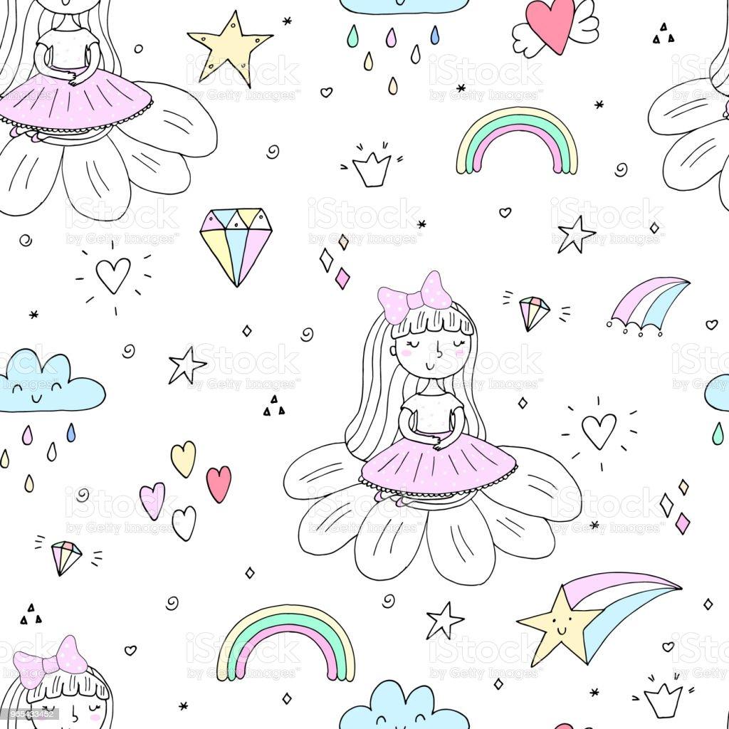 Cute hand drawn with cute little girl vector seamless pattern illustration cute hand drawn with cute little girl vector seamless pattern illustration - stockowe grafiki wektorowe i więcej obrazów córka royalty-free