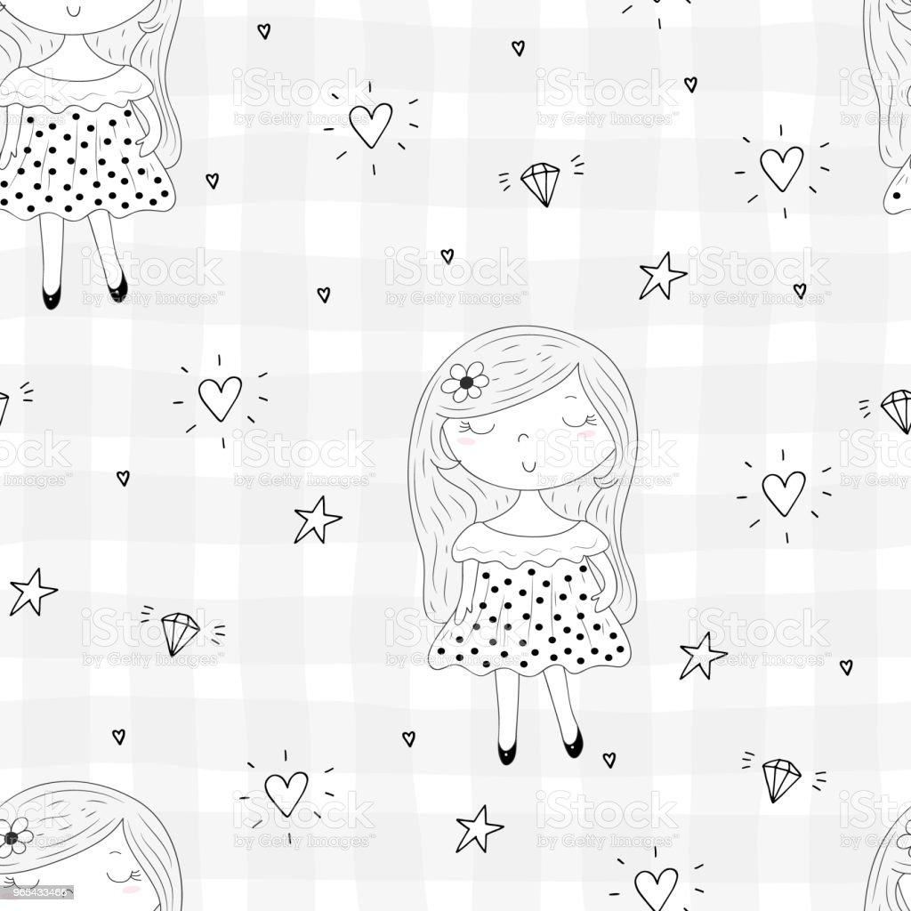 귀여운 작은 소녀 벡터 완벽 한 패턴 일러스트로 그려진 귀여운 손 - 로열티 프리 공주 벡터 아트