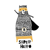 Cute hand drawn with ink bear hero. Cartoon super hero bear vector illustration in scandinavian style