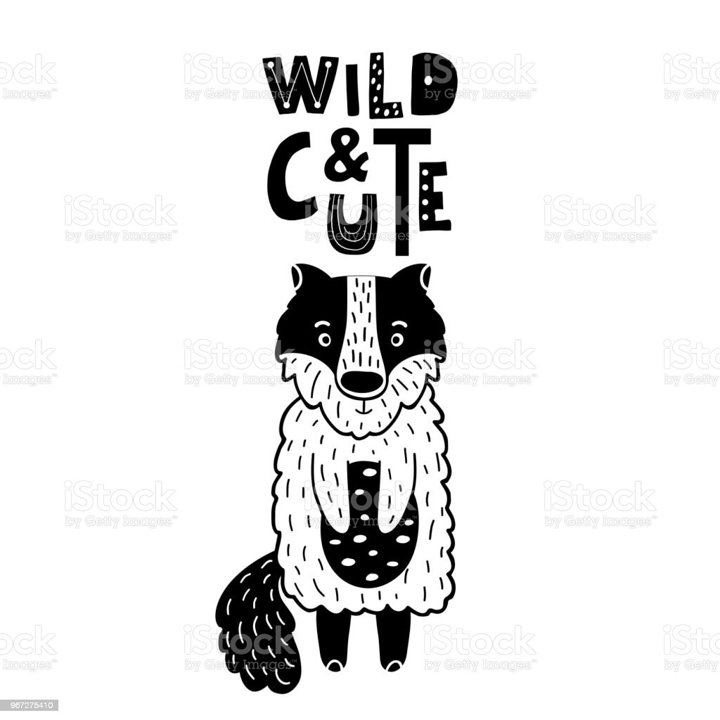 cute hand drawn wolf in black and white style cartoon vector illustration in scandinavian style