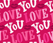 Cute hand dtawn doodle lettering pattern background. Lettering - Love you, Kiss you.